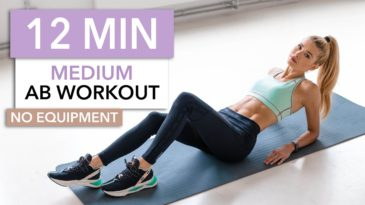 12 MIN Ab Workout Video with Pamela Reif / No Equipment needed / Advanced / Core stability / upper abs / lower abs / side abs