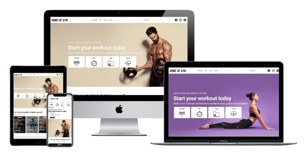 Home of Gym in responsive design - enjoy your workout on the TV, Computer, Tablet or Smartphone