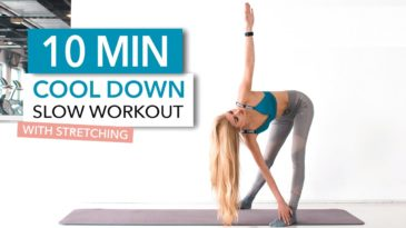 10 MIN Cooldown routine with Pamela Reif / No Equipment needed / Beginner friendly / Stretching / After Workout / Slow strength exercises