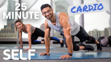 25 Minute Full Body Cardio Workout with Rhys and Amy from SELF / No Equipment needed, mat optional / beginner, beginner, advanced / Full Body Workout